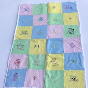 Handmade Grannycore Baby Blanket embroidered panel